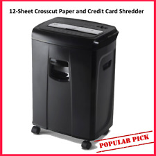 New Listing12 Sheet Crosscut Paper And Credit Card Shredder Homeoffice With Pullout Basket