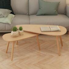 vidaXL Solid Pinewood Coffee Table Set 2 Piece Brown Living Room Furniture