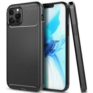 For iPhone 12 Pro Max/12 Mini Case Thin Fit Ultra Slim Carbon Fiber Phone Cover