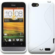 Coque en Silicone HTC One V - S-Style blanc + films de protection