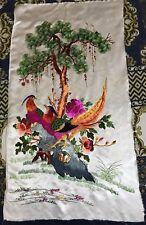 Antiguo Chino De Seda Floral Pájaro Bordado a Mano Tapiz Colgante de Pared de Banner