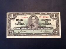 ~ Canada 1937 George Vi One Dollar $1 Gordon Towers - Off Center Cut