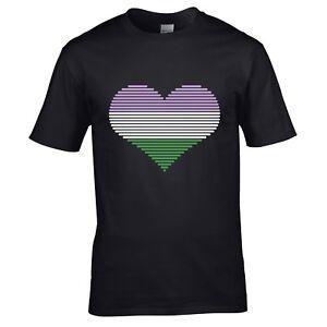 Beautiful retro Heart Love Luv LGBT Genderqueer Pride flag unisex t-shirt gift