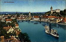 Schaffhausen Switzerland Suisse AK ~1910 Panorama Dampfer Postcard Switzerland