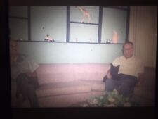 Vintage 1960s Two Men On Couch With Scotty Dog Smoking Kodachrome Color Slide