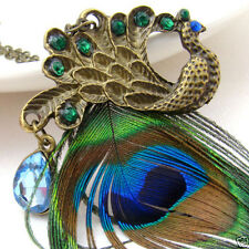 Blue Eyes Peacock Long Feather Fashion Pendant Necklace Chain Copper Gorgeous