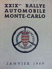 Règlement Rallye Monte Carlo 1960 Itinéraire rally automobilia racing rallying