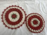Vintage Red And White  Cotton Floral Crocheted Lace Doilies