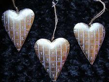 3 big Gold & Silver Metal Heart Hangers Christmas Tree hanger Wedding Decoration