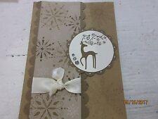 Stampin Up Handmade Christmas Greeting Card - Reindeer and snowflakes