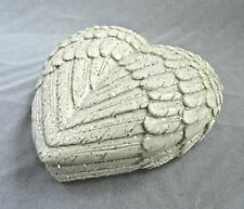 Feather Angel Wings Shimmer Heart Shaped Cream Jewelry Trinket Box 8 x 9cm