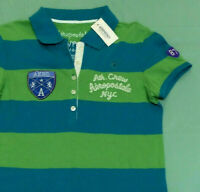 Juniors Polo Shirt Size S Small Green Blue Short Sleeve Buttons Aeropostale Aero