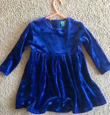 The Children's Place Blue Velvet Velour Dress Hearts Christmas Valentine 24 M
