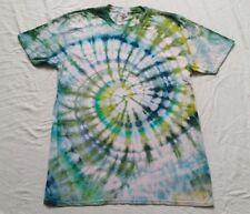 Bright rainbow teal turquoise blue tie dye tshirt festival tropical surf hippie