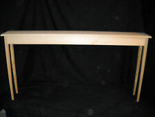 """Unfinished 60"""" Narrow Console, Sofa, Pine Table w/Beveled Edge and Tapered Legs"""