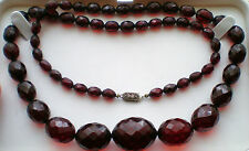 """Art Deco Faceted Red Cherry Amber Bakelite Graduated Bead Beaded Necklace 28"""""""