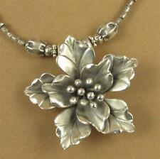 Fine silver flower necklace. Iris. Fine & sterling silver 925. Handmade