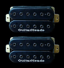Guitar Parts GUITARHEADS PICKUPS HEXBUCKER HUMBUCKER - Bridge Neck SET 2 - BLACK