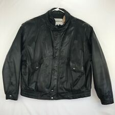 Franklin Allen Mens Size 52 Leather Jacket Zip Front Black Thermolite Insulation