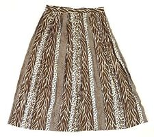 Lord & Taylor Skirt 10 Animal Print Brown White Blue Striped Pleated A Line