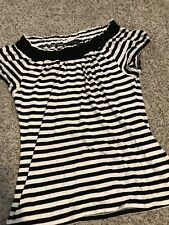 Women's Black and White Striped INC Blouse