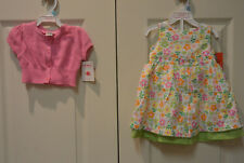 Carter's Dress Me Up Spring Flowers Sundress & Pink Sweater Set Baby Girl 6M