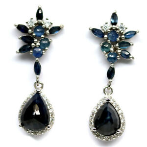NATURAL HEATED PEAR DEEP BLUE SAPPHIRE & WHITE CZ EARRINGS 925 SILVER STERLING