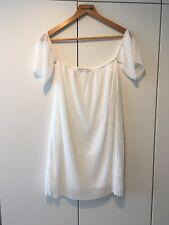 Vestido de verano Boohoo Blanco Del Hombro Túnica 12 Manga Corta Plisada