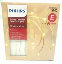 NEW Philips Battery Operated 30 Warm White Dewdrop Fairy Lights w 6/18hr Timer