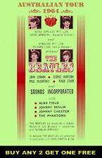 THE BEATLES 1964  Laminated Australian Tour Poster