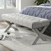Linen Upholstered Tufted Bench Ottoman Wood Modern Nailhead Trim X-Legs