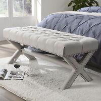 Linen Upholstered Tufted Bench Ottoman Wood Modern Nailhead Trim X-Legs