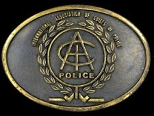 Vtg International Association Chiefs Of Police IACP Badge Brass Belt Buckle
