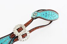 TURQUOISE BLING LEATHER WESTERN HORSE RODEO SILVER SHOW ONE EAR BRIDLE HEADSTALL