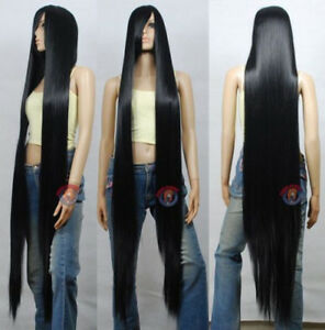 150cm Black Styleable Extra Super Long Cosplay Wigs + Wig Cap