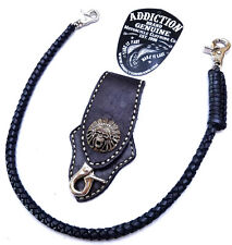 Biker Skull Indian Chief Trucker Leather Belt Clip Key Holder with braided chain