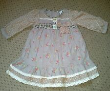 PRETTY BABY GIRLS NEXT COTTON  BROWN, PINK FLORAL DRESS BNWOT AGE 3-6 MONTHS