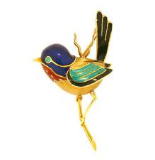 VINTAGE 18K GOLD & ENAMELED BIRD BROOCH DESIGNER SIGNED S-MCI ESTATE JEWELRY