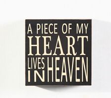 "Home decoration  ""A Piece Of My Heart Lives in Heaven"" Wood Box Sign 5.75"""