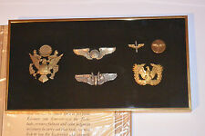 VINTAGE WWII AAF, US ARMY AIR FORCE PILOT WINGS, BADGES & PINS! FRAMED! 6 PIECES
