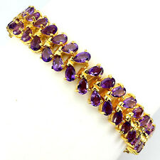 Sterling Silver 925 14 CT Gold Plated Genuine Amethyst Two Row Bracelet 7 Inches