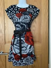 NEW W/OUT TAGS SMASH! HOUSE OF FRASER GREY & RED FLORAL PRINT MINI DRESS SIZE S
