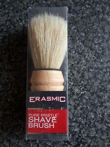 Authentic Erasmic Pure Bristle shaving brush, natural wood handle.