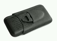 Black Leather Lizard Embossed 3 Tube Cigar Case & Plastic Cutter Set