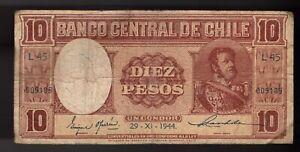 CHILE BANKNOTE 10 PESOS 1944.
