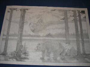 """* TRI CHEM HUGE  8296 BEARS AT THE LAKE CUB 24""""X36"""" Picture to paint TRICHEM"""