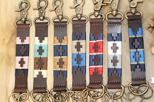 Polo Gaucho Leather Keyring Handmade Unisex in different patterns 1inch Wide. UK