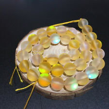 "Round Matte Fiery Flash Shining Crystal Loose Strand Beads Jewelry Making 15"""