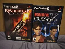 Resident Evil Outbreak & Code: Veronica X PS2 Game Lot - Complete - Mint Disc