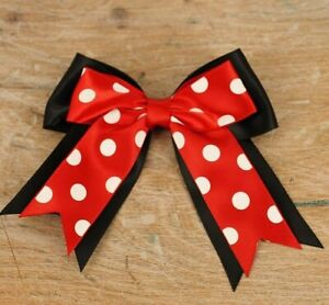 Large Mini Mouse Style Double Satin Ribbon Bows Black and red spotty